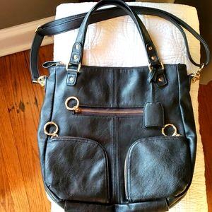 Black faux leather shoulder handbag